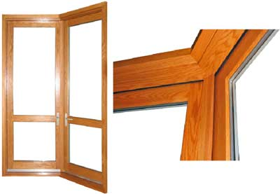 view of angled corner doors