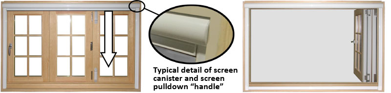 the example above illustrates a manual pulldown screen system   additionally, parrett offers motorized rolldown screens that are controlled  by either remote