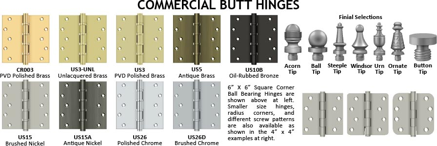 commercial brass ball bearing butt hinge