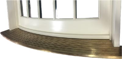 curved brass sill for curved wood door