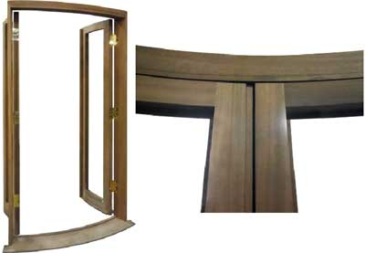 curved glass swing door
