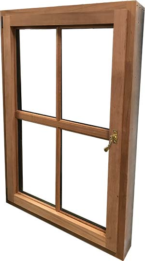 view of a single inswing casement window