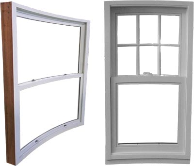view of curved hung windows