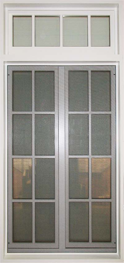 view of a fixed screen in inswing casement window