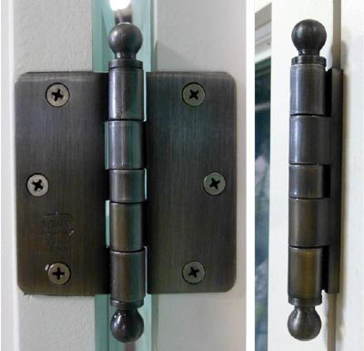butt hinge with decorative ball finials