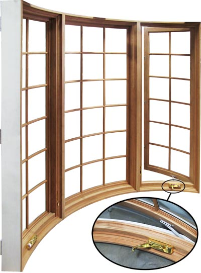 view of curved outswing casement windows