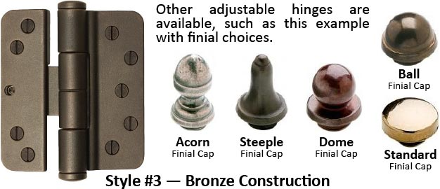 residential bronze adjustable hinge with finial decorative caps