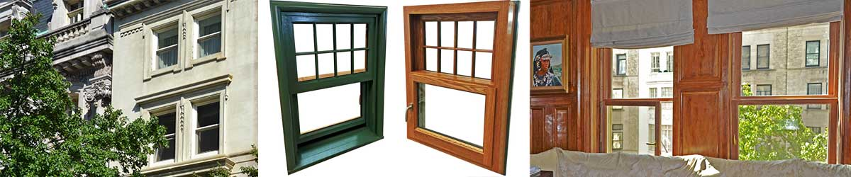 Views of installed hung windows