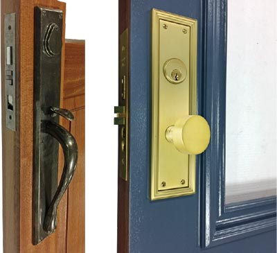 single point latch with doorknob