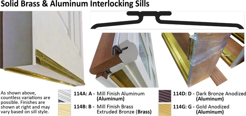 interlocking brass and aluminum residential door sill