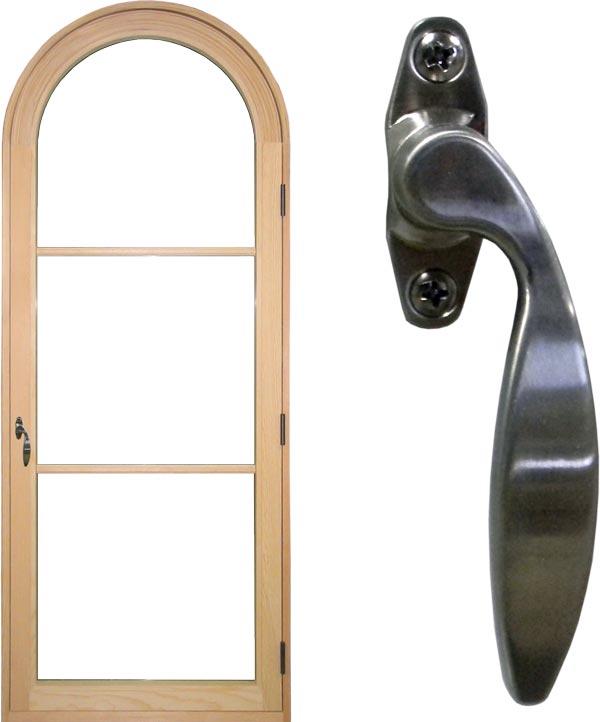 view of a single inswing casement window