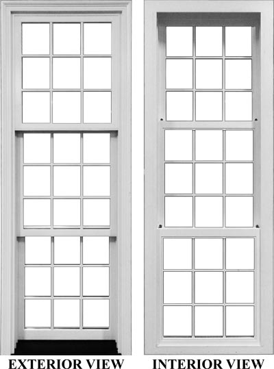 view of a hung window